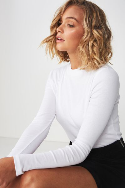 Mock Neck Chop Long Sleeve Top, WHITE