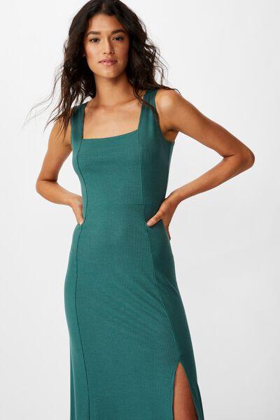 Tracey Strappy Split Midi Dress, MALLARD GREEN RIB