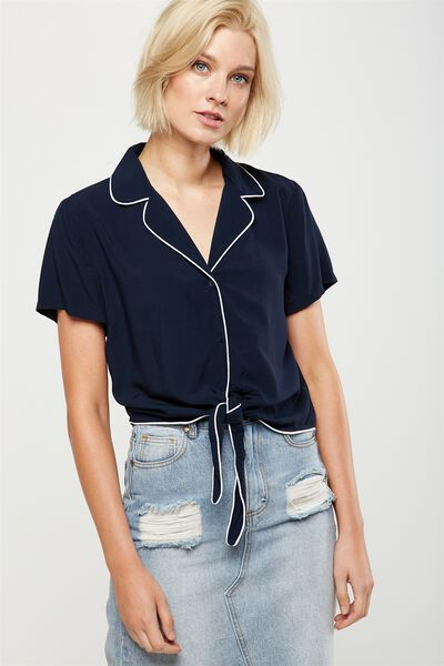 Tie Front Resort Shirt, NAVY WITH WHITE PIPING