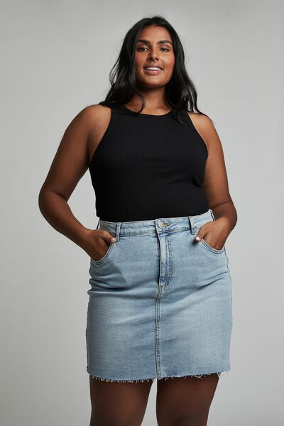 Curve Denim Mini Skirt, AIREYS BLUE