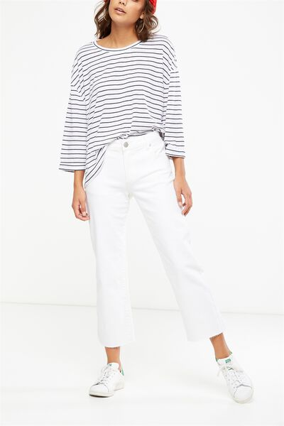 Mid Rise Straight Crop Stretch Jean, WHITE