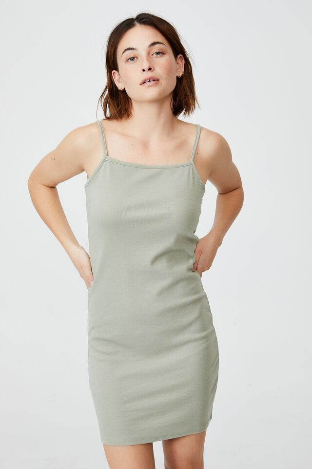 Finn Straight Neck Strappy Mini Dress, SAGE