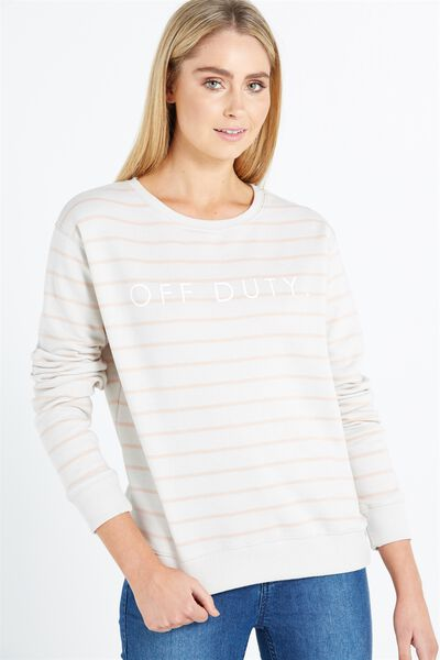 Ferguson Graphic Crew Sweater, OFF DUTY/PINK SAND STRIPE