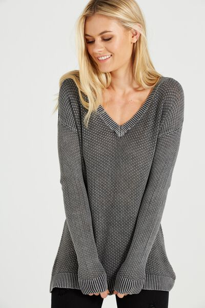 Lily V Neck Open Stitch Pullover, CHARCOAL COLD WASH