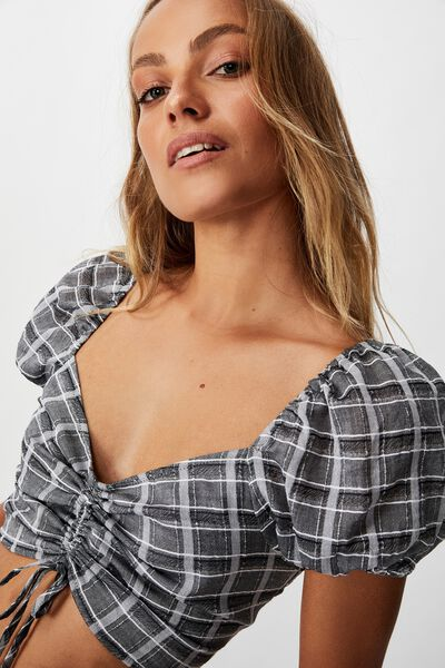 Sunrise Check Short Sleeve Rouched Top, CLAIRE CHECK BLACK