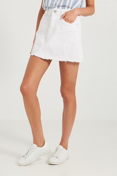 The Re-Made Mini Denim Skirt, WHITE DENIM