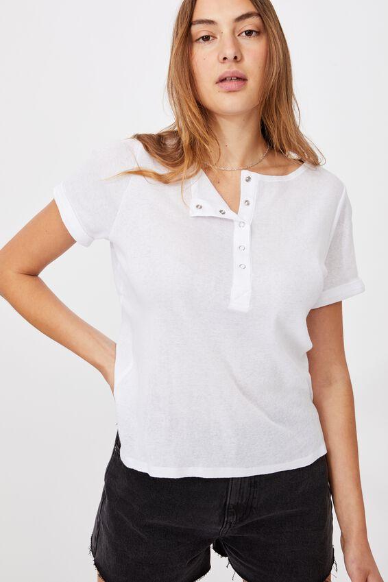 Madison Short Sleeve Henley Top, WHITE