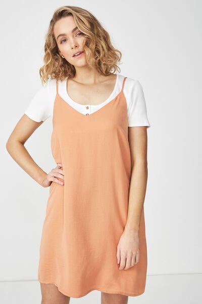 Woven Margot Slip Dress, SAHARA - S