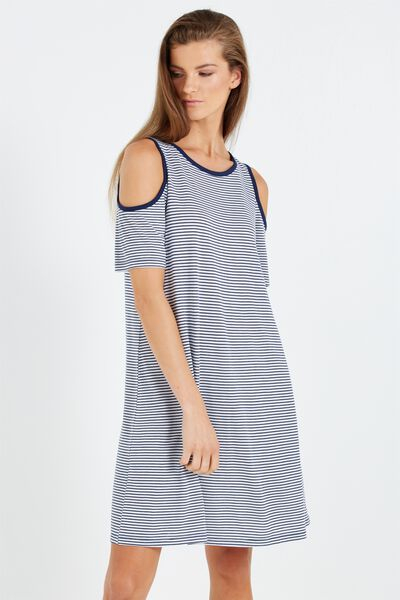 Leo Cold Shoulder Dress, WHITE/SPACE NAVY SUZIE STRIPE