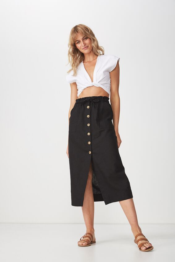 Woven Molly Button Through Midi Skirt, BLACK
