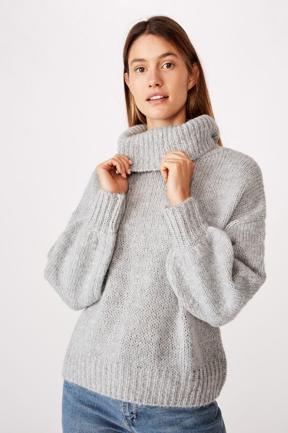 Roll Neck Pullover, GREY MARLE