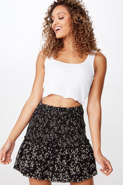 Woven Serena Shirred Waist Mini Skirt, ALICE DITSY BLACK