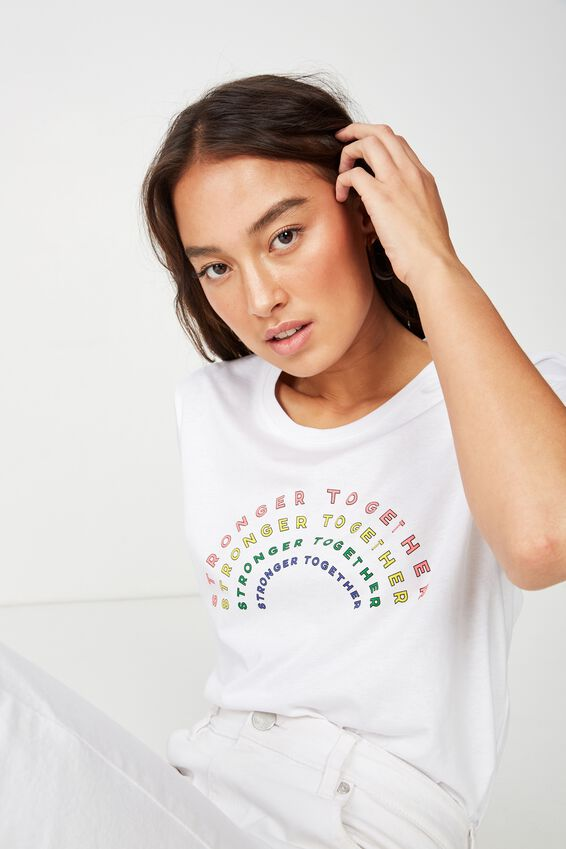 Classic Slogan T Shirt, STRONGER TOGETHER/WHITE