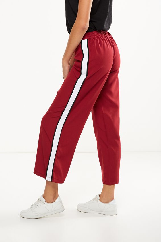 Wide Leg Pant 2, TIBETAN RED WITH WHITE SIDE SPLIT