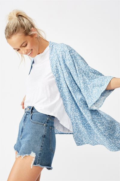 Wanderlust Kimono, FRANKIE DAISY PROVINCIAL BLUE