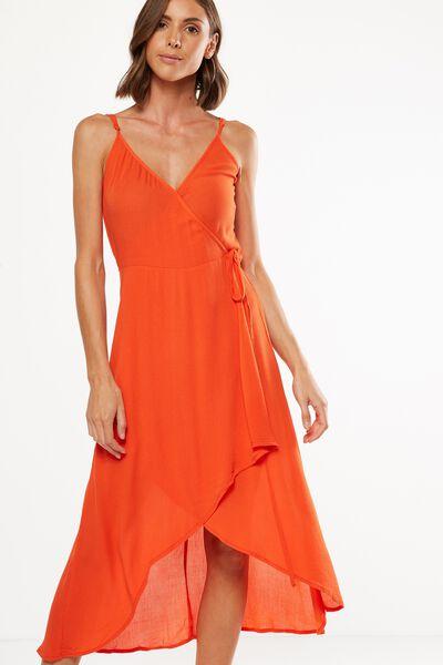 Woven Lucia Strappy Wrap Midi Dress, CHERRY TOMATO