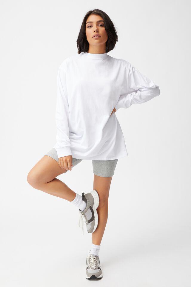 Basic Oversized Long Sleeve Top, WHITE