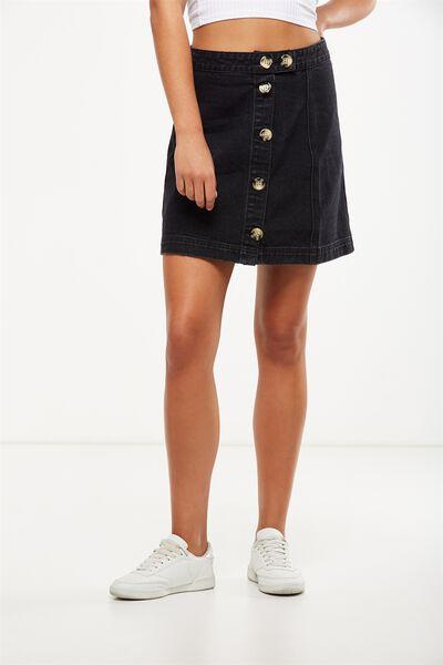 The Re-Made Mini Denim Skirt, BUTTON THROUGH BLACK