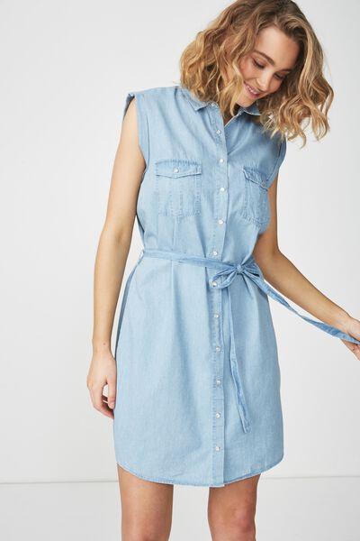 Woven Tilly Sleeveless Shirt Dress, CHAMBRAY