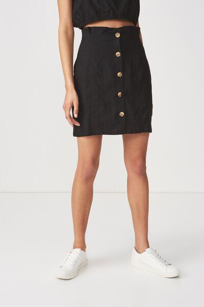Woven Halle Mini Skirt, BLACK