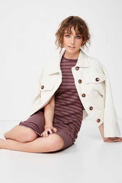 Essential Short Sleeve Bodycon Midi Dress, ASHLEY STRIPE ECLIPSE