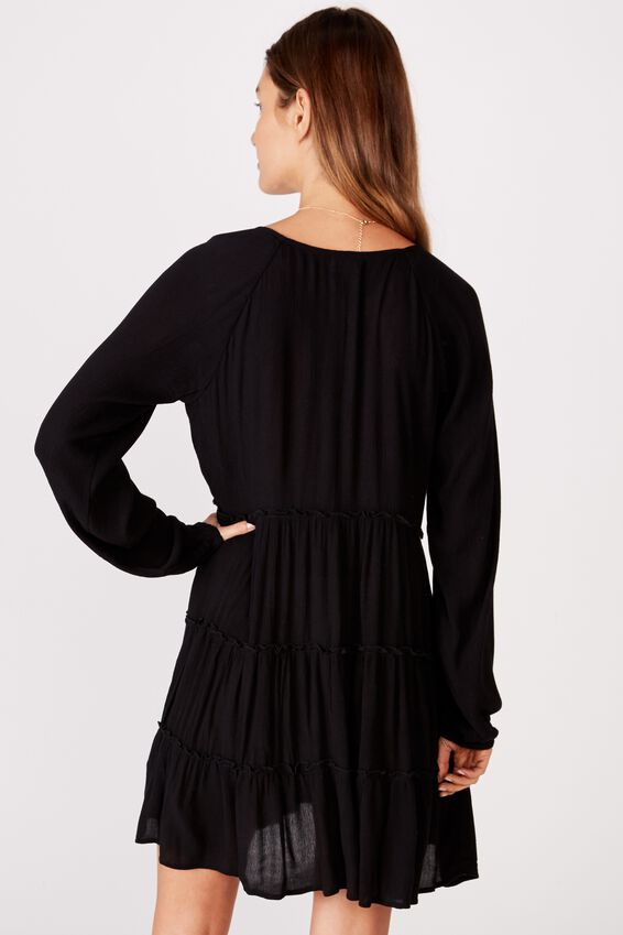 Woven Millicent Long Sleeve Smock Dress, BLACK
