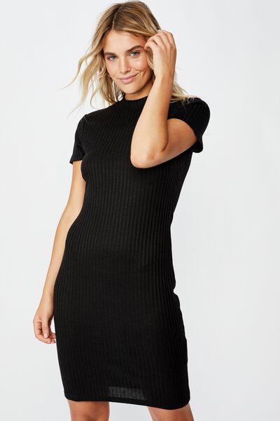 Toby S/S Mini Dress, BLACK RIB