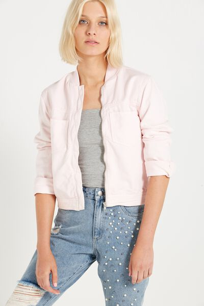 Bomber Denim Jacket, WASHED SOFT PINK LADY