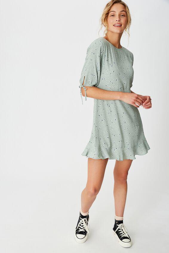 Woven Lucie 3/4 Mini Dress, HEIDI DITSY JADE
