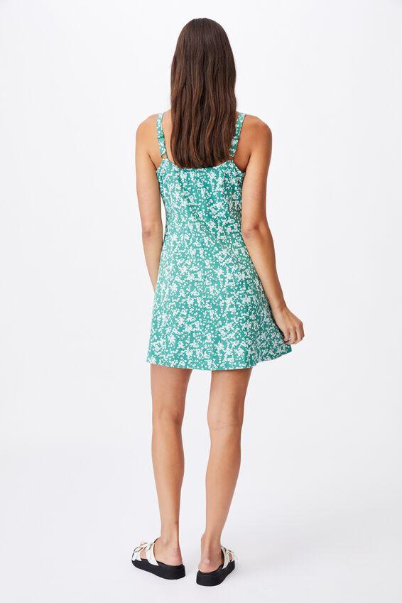 Turner Strappy Mini Dress, LENA DITSY HERITAGE GREEN
