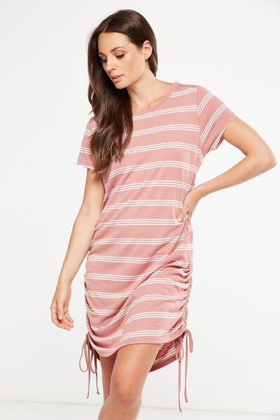 Shaniqua Rouched Side T-Shirt Dress, ANTIQUE MAUVE/MILK NEW STRIPE
