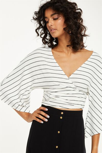 Jude Kimono Sleeve Top, WHITE/BLACK TEXTURED STRIPE