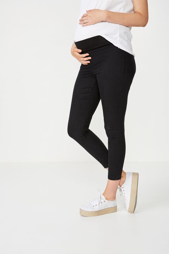 Mid Rise Maternity Jegging, BLACK