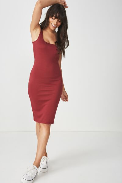 Kimi Scooped Bodycon Midi Dress, RUBY WINE