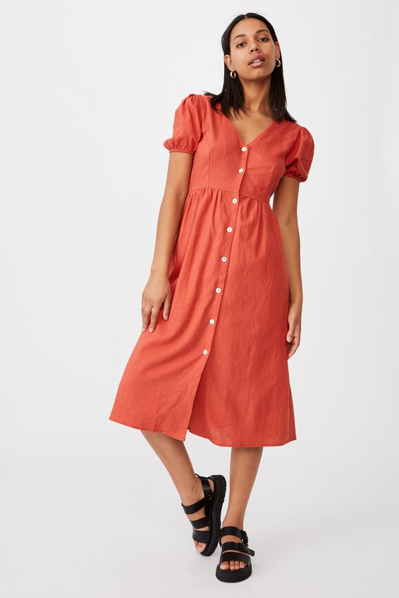 Woven Hanna Bell Sleeve Midi Dress, RED CLAY