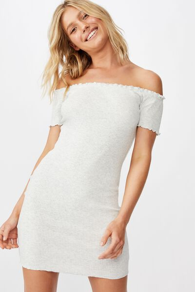 Olive Short Sleeve Off The Shoulder Rib Mini Dress, LIGHT GREY MARLE RIB