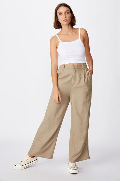 Pleat Front Drapey Pant, DESERT TAUPE