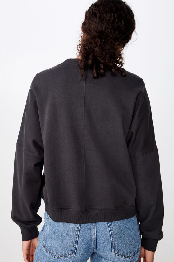 Harper Boxy Crew Graphic Fleece, LCN PER WOODSTOCK LOGO/WASHED BLACK