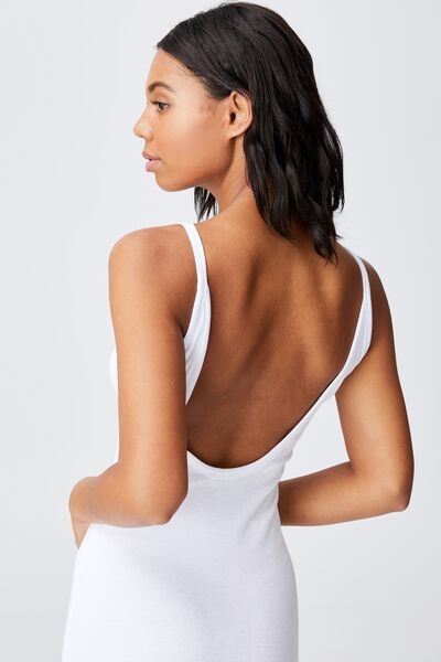 Lola Low Back Mini Dress, WHITE