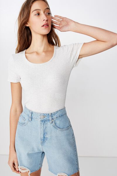 The Turn Back Tee Bodysuit, SILVER MARLE