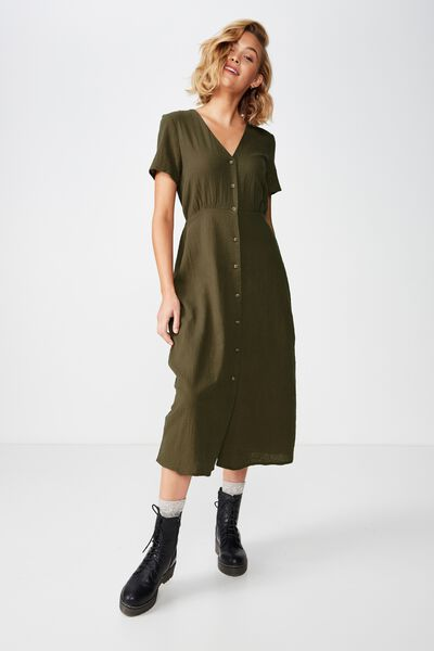 Woven Campbell Button Front Midi Dress, OLIVE NIGHT TEXTURED