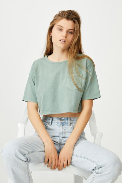 The Slouch Pocket Tee, WASHED FALL GREEN