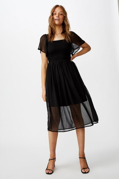 Woven Saffron Shirred Flutter Sleeve Midi Dress, BLACK
