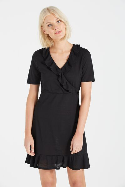 Rhianna Short Sleeve Frill Dress, BLACK