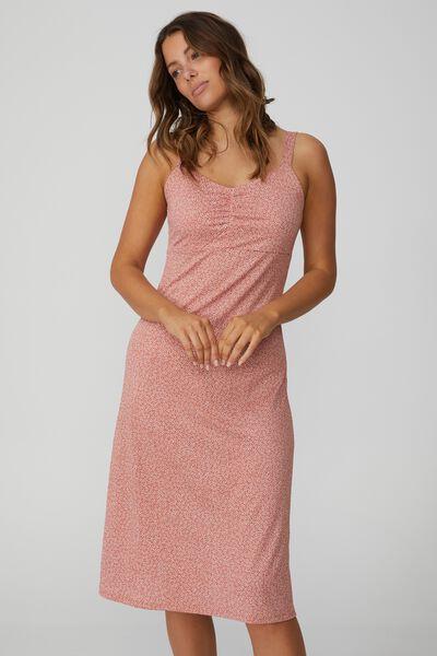 Taylor Strappy Midi Dress, STARBURST DITSY EARTHY RED
