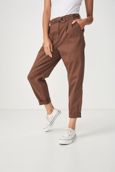 Ashley Belted Chino, CHESTNUT