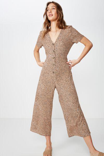 b057209bd Woven Juniper Short Sleeve Jumpsuit, CHLOE MINI ANIMAL BROWN. Cotton On  Women
