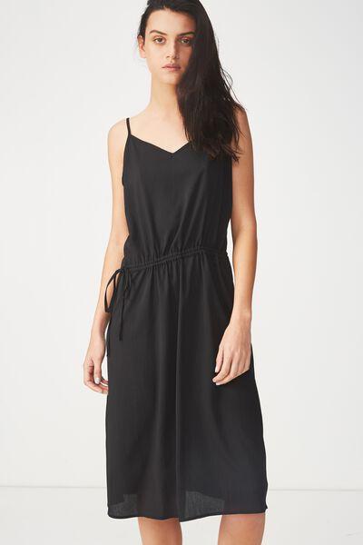 Woven Mimi Rouched Midi Dress, BLACK