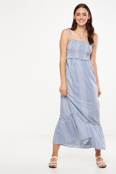 Woven Miranda Shirred Strappy Maxi Dress, CASIE STRIPE