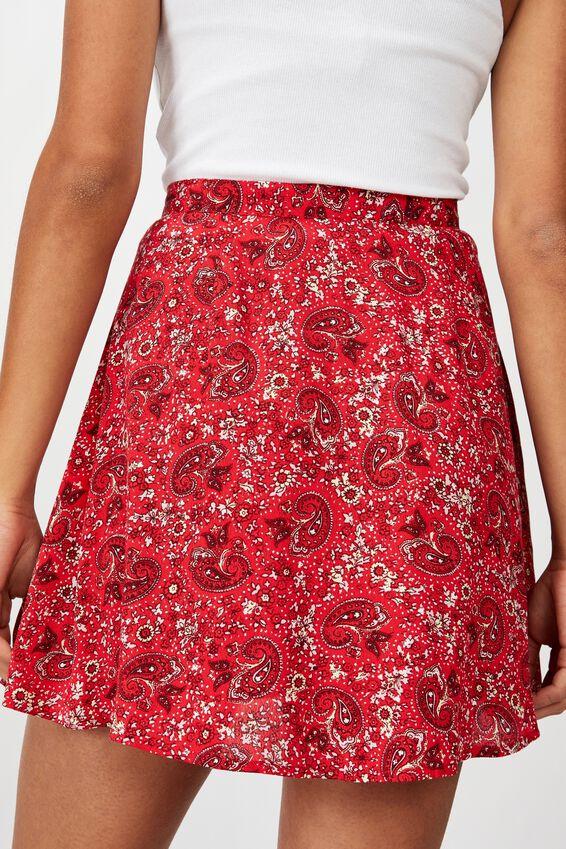 Allegra Button Through Mini Skirt, JANE PAISLEY SCARLET